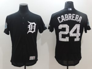 2017 MLB Detroit Tigers 24 Cabrera Black Jerseys