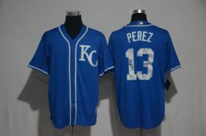 2017 MLB Kansas City Royals 13 Perez Blue Spring Training Flex Base Jersey