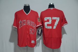 2017 MLB Los Angeles Angels 27 Trout Red Spring Training Flex Base Jersey
