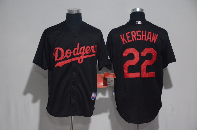 2017 MLB Los Angeles Dodgers 22 Kershaw Black Classic Jerseys