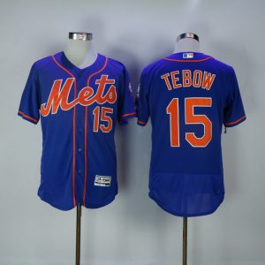 2017 MLB New York Mets 15 Tebow Blue Elite Jerseys
