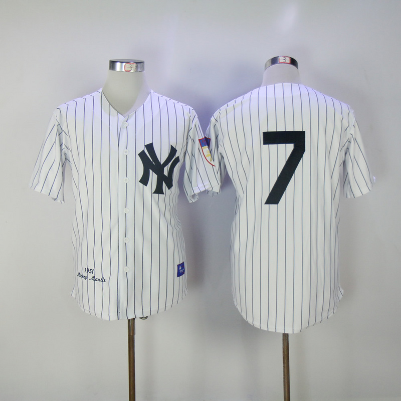 2017 MLB New York Yankees 7 no name White 1951 Throwback Jerseys