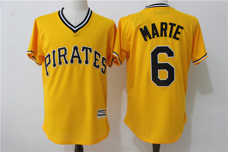 2017 MLB Pittsburgh Pirates 6 Marte Yellow Throwback Game Jerseys