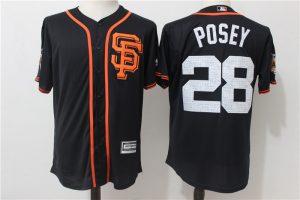 2017 MLB San Francisco Giants 28 Posey Black Fashion Edition Jerseys
