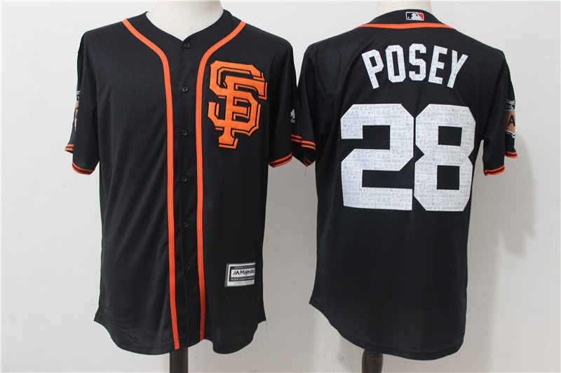 2017 MLB San Francisco Giants 28 Posey Black Fashion Edition Jerseys