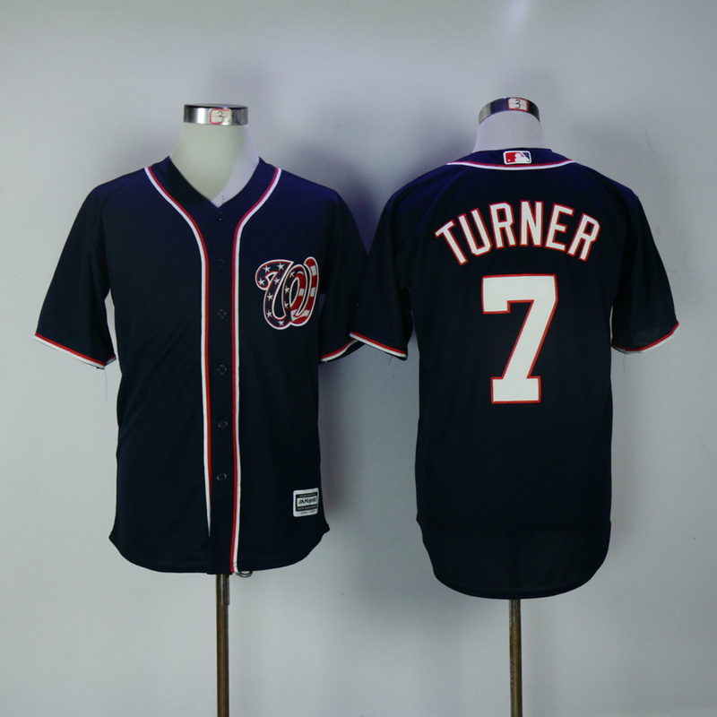 2017 MLB Washington Nationals 7 Turner Blue Game Jerseys