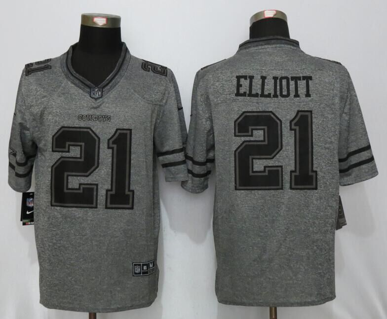 Dallas Cowboys 21 Elliott Gray Men's Stitched Gridiron Gray New Nike Limited Jersey
