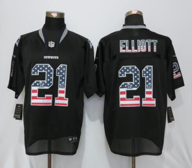 Dallas cowboys 21 Elliott USA Flag Fashion Black New Nike Elite Jerseys