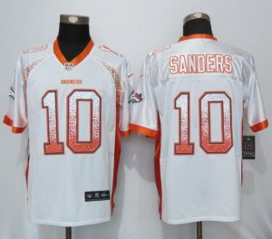 Denver Broncos 10 Sanders Drift Fashion White NEW Nike Elite Jersey