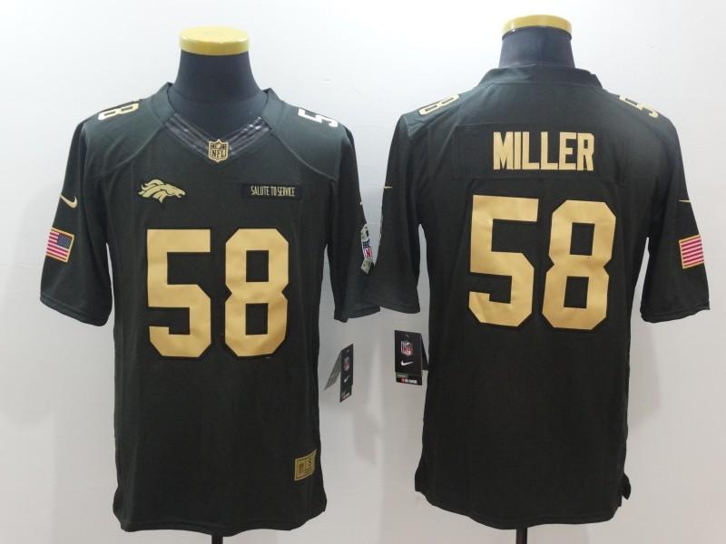 Denver Broncos 58 Miller Green Nike 2016 christmas gold edition jersey