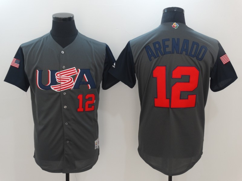 Men USA Baseball 12 Arenado Gray 2017 World Baseball Classic Authentic Jersey