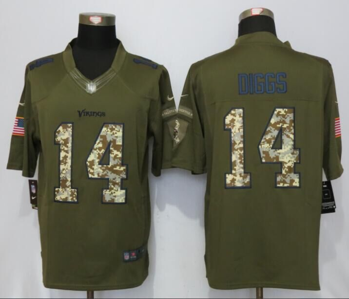 Minnesota Vikings 14 Dlggs Green Salute To Service New Nike Limited Jersey