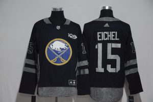 NHL Buffalo Sabres 15 Eichel Black 1917-2017 100th Anniversary Stitched Jersey