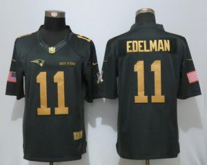 New Nike New England Patriots 11 Edelman Gold Anthracite Salute To Service Limited Jersey