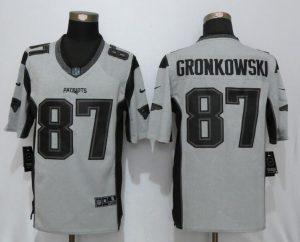 New Nike New England Patriots 87 Gronkowski Nike Gridiron Gray II Limited Jersey