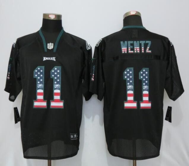 Philadelphia Eagles 11 Wentz USA Flag Fashion Black New Nike Elite Jerseys