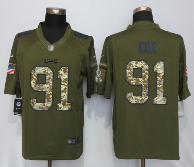 Philadelphia Eagles 91 Cox Green Salute To Service Nike Limited Jersey