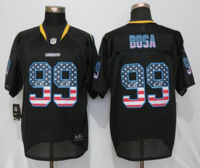 San Diego Chargers 99 Bosa USA Flag Fashion Black New Nike Elite Jerseys