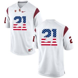 US Flag Fashion USC Trojans Adoree' Jackson 21 College Football Jersey White
