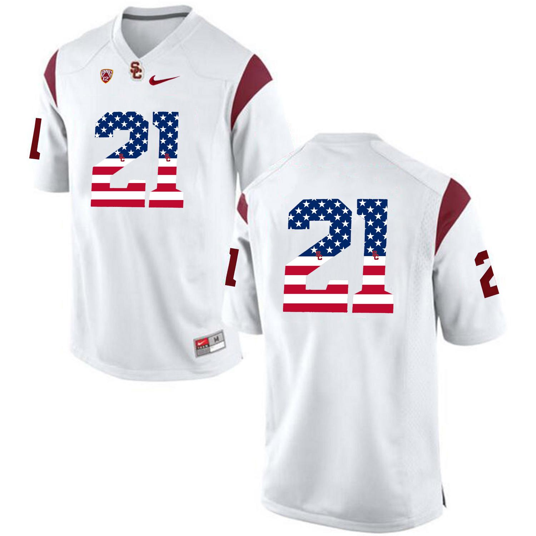 US Flag Fashion USC Trojans Adoree' Jackson 21 College Football Jersey White