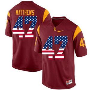 US Flag Fashion USC Trojans Clay Matthews 47 College Football Jersey Red