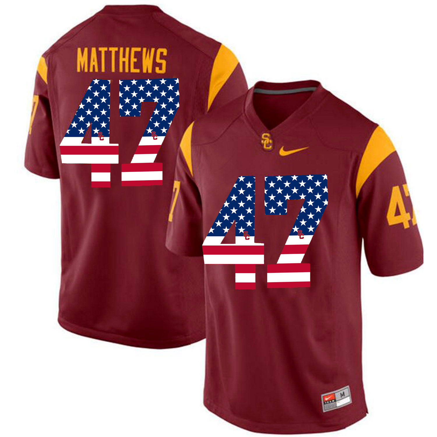 US Flag Fashion USC Trojans Clay Matthews 47 College Football Jersey Red