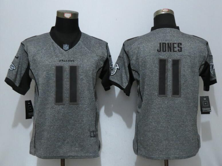 Women New Nike Atlanta Falcons 11 Jones Gray Men's Stitched Gridiron Gray Elite Jersey