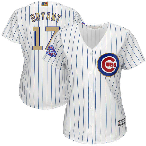 Womens 2017 MLB Chicago Cubs 17 Bryant CUBS White Gold Program Jersey