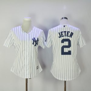 Womens 2017 MLB New York Yankees 2 Jeter White Jerseys