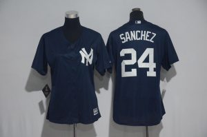 Womens 2017 MLB New York Yankees 24 Sanchez Blue Jerseys