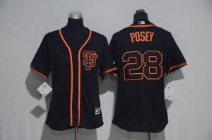 Womens 2017 MLB San Francisco Giants 28 Posey Black Jerseys