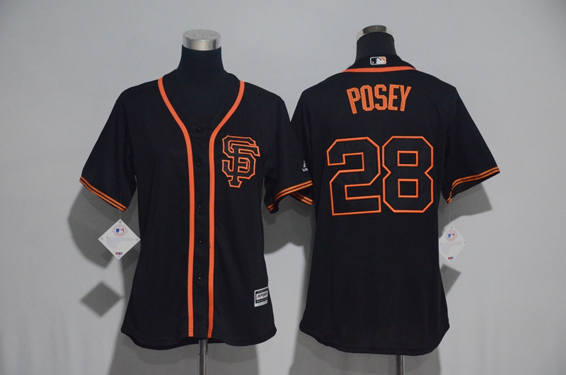 Womens 2017 MLB San Francisco Giants 28 Posey Black Jerseys