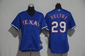 Womens 2017 MLB Texas Rangers 29 Beltre Blue Jerseys