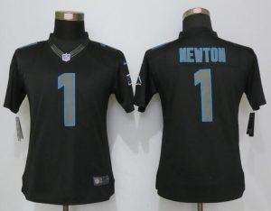 Womens Carolina Panthers 1 Newton Impact Limited Black 2016 Jerseys