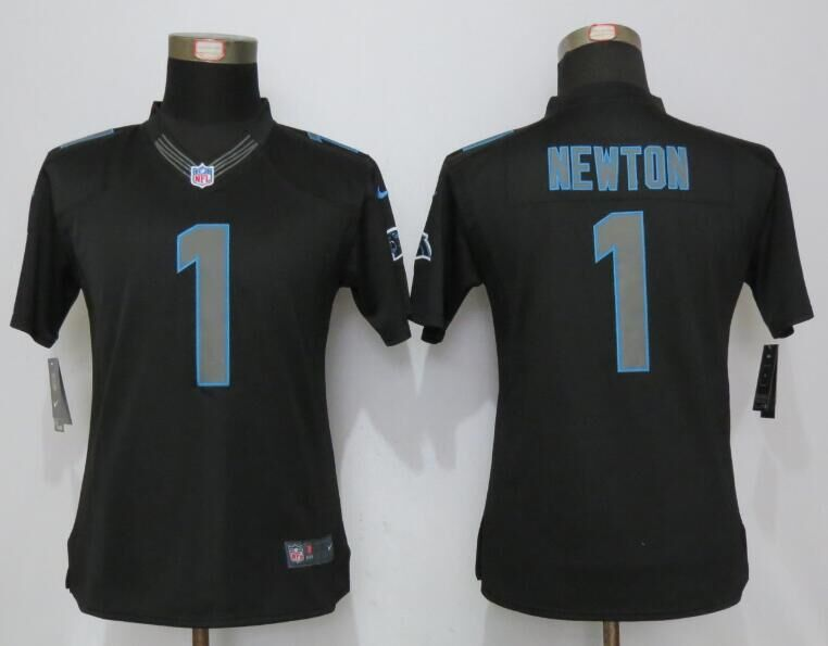 Womens Carolina Panthers 1 Newton Impact Limited Black 2016 Jerseys