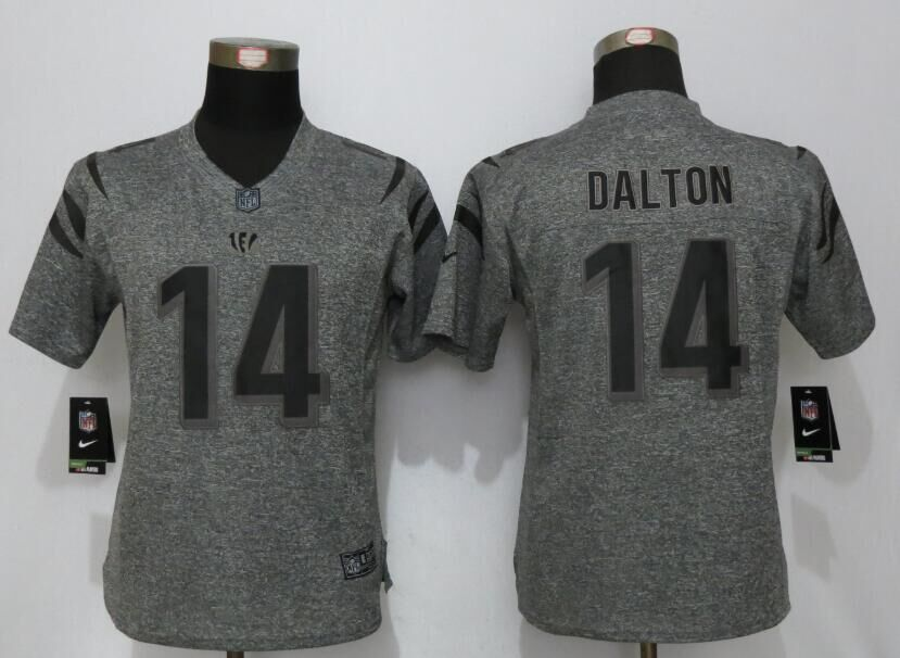 Womens Cincinnati Bengals 14 Dalton Gray Stitched Gridiron Gray New Nike Limited Jersey