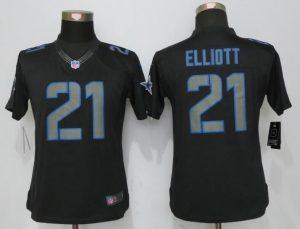 Womens Dallas cowboys 21 Elliott Impact Limited Nike Black Jerseys