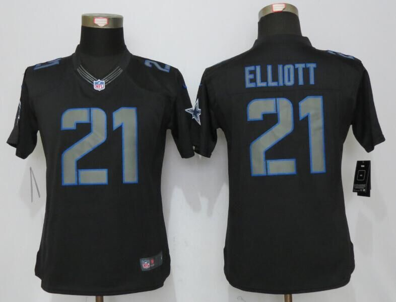 Womens Dallas cowboys 21 Elliott Impact Limited Nike Black Jerseys