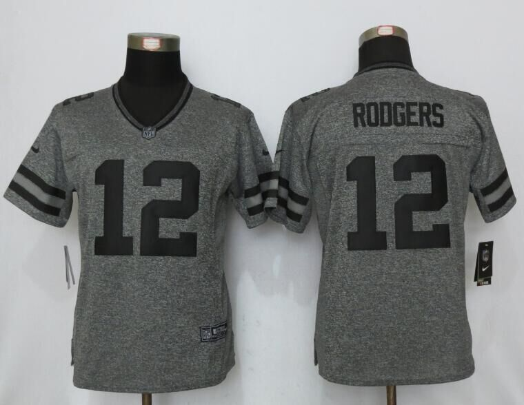 Womens Green Bay Packers 12 Rodgers Gray Men's Stitched Gridiron Gray Limited 2016 New Nike Jerseys