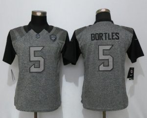 Womens Jacksonville Jaguars 5 Bortles Gray Stitched Gridiron Gray New Nike Limited Jersey