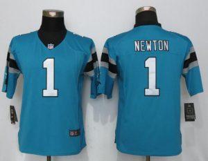 Womens Nike Carolina Panthers 1 Newton Blue Limited Jerseys