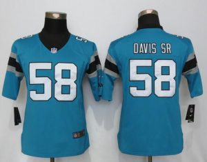 Womens Nike Carolina Panthers 58 Davis sr Blue Limited Jerseys