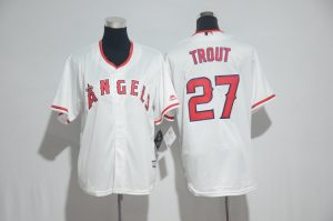 Youth 2017 MLB Los Angeles Angels 27 Trout White Jerseys