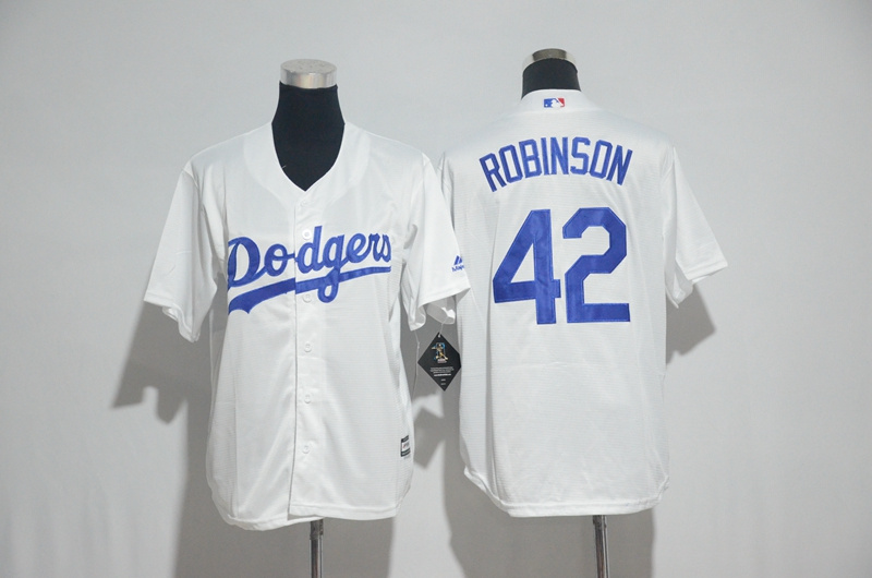 Youth 2017 MLB Los Angeles Dodgers 42 Robinson White Jerseys