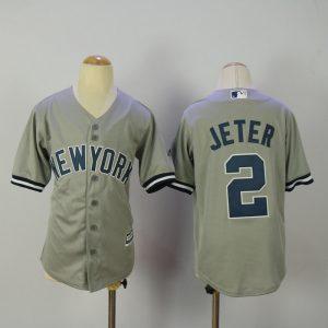 Youth 2017 MLB New York Yankees 2 Jeter Grey Jerseys