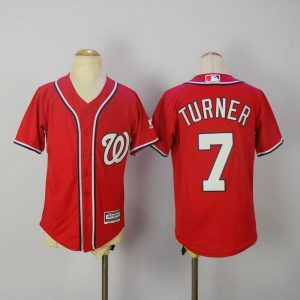 Youth 2017 MLB Washington Nationals 7 Turner Red Jerseys