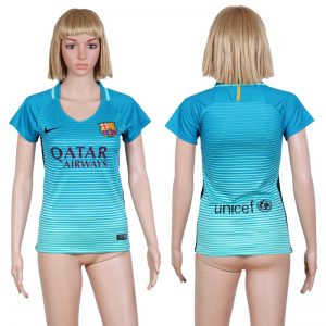 2016-2017 club Barcelona second away Blue Womens Soccer Jersey