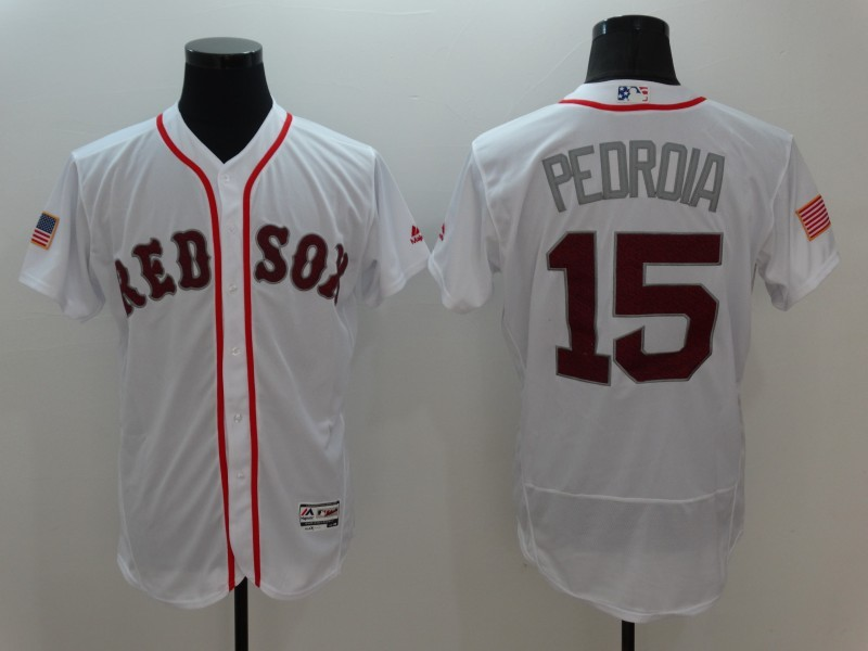 2016 MLB Boston Red Sox 15 Pedroia White Elite Fashion Jerseys