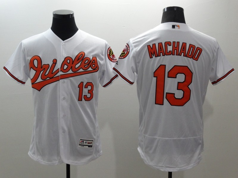 2016 MLB FLEXBASE Baltimore Orioles 13 Machado white jerseys