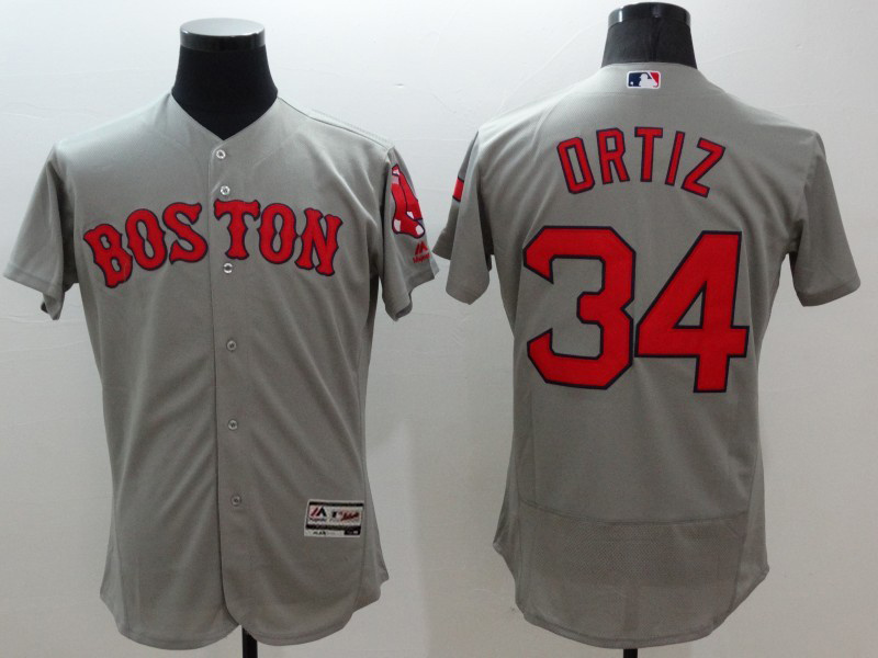 2016 MLB FLEXBASE Boston Red Sox 34 Ortiz grey jerseys